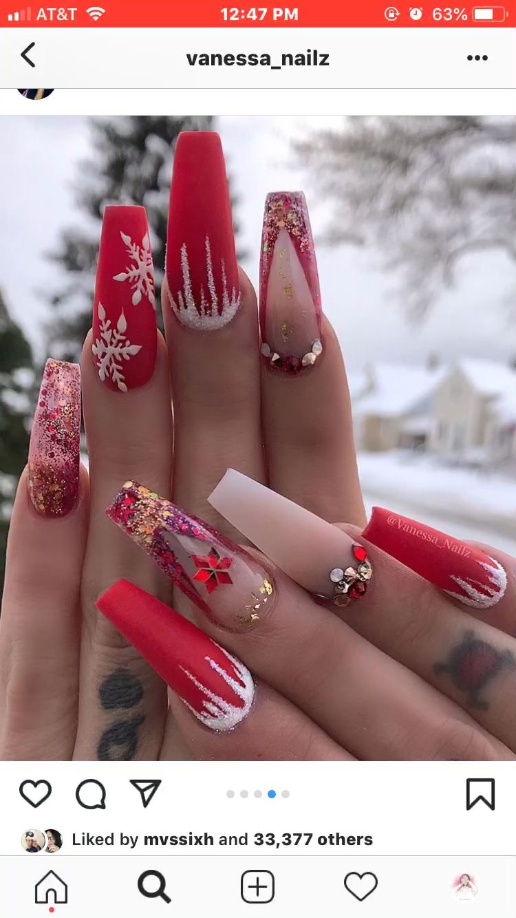 Follow Me Beauty Obsessed For More Nail Ideas Video Christmas Nails Xmas Nails Christmas Nail Designs Acrylic