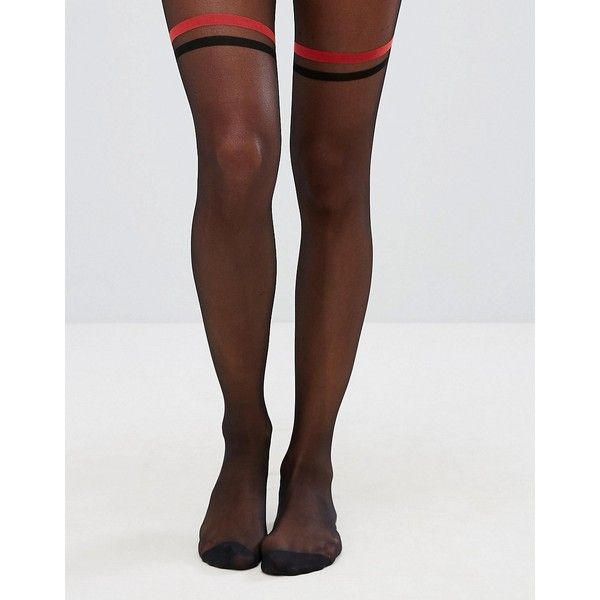 a207b29c346ba ASOS Sheer 2 Stripe OTK Tights ($13) ❤ liked on Polyvore featuring intimates ,