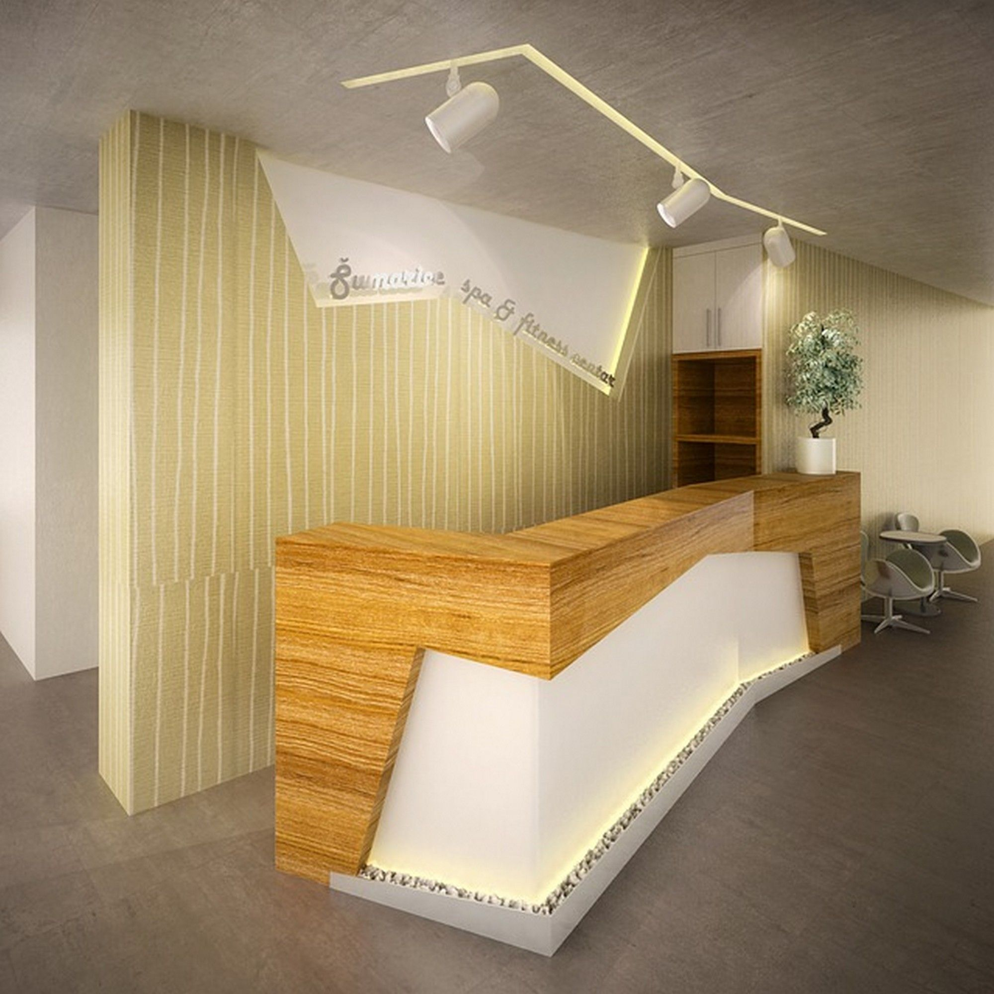 Furniture: Luxury Reception Desk With Wood And Stone Design For ...