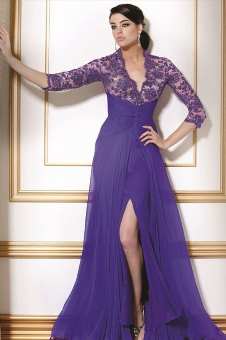 Best selling mother of bridal gown with sleeves a line v neck