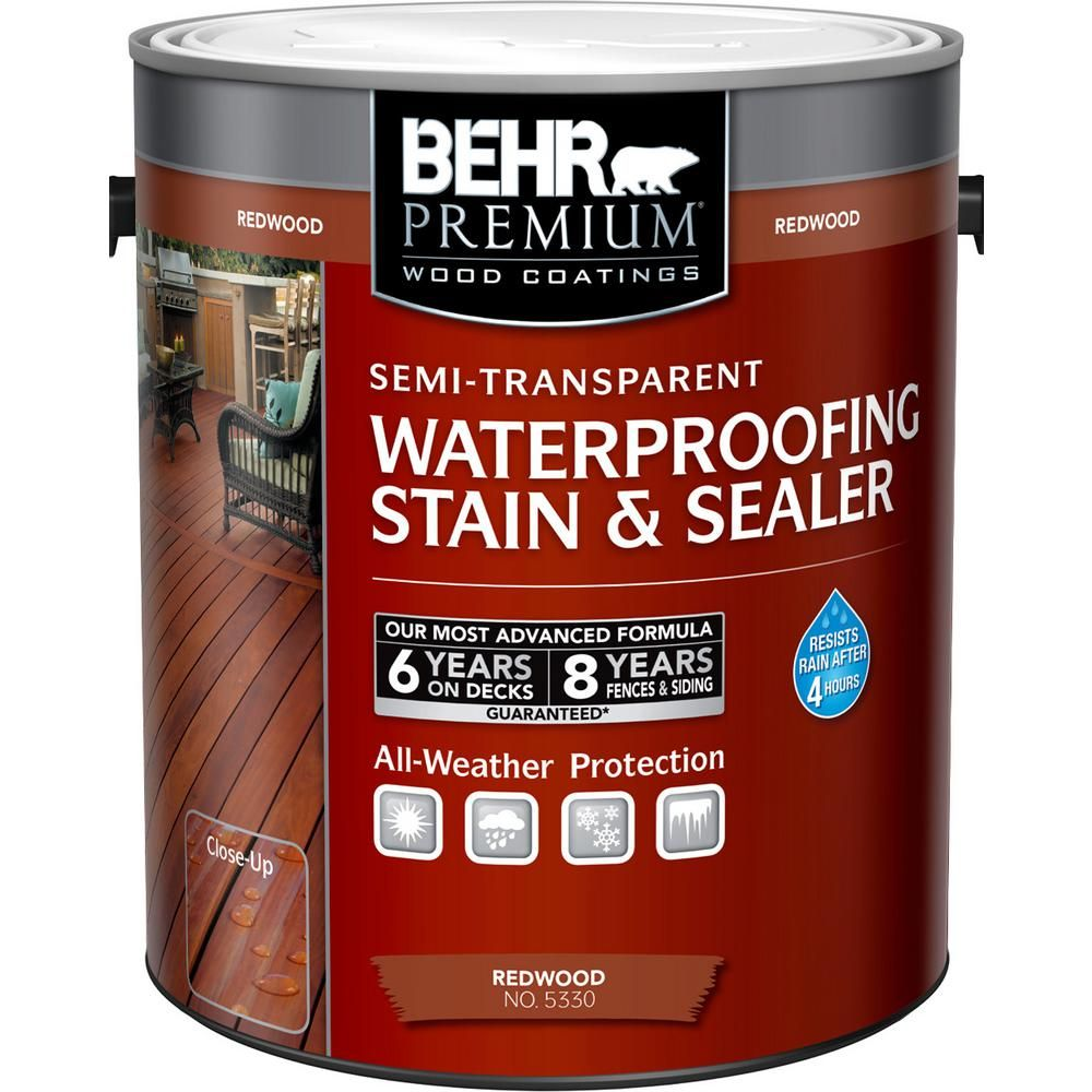 Behr Premium 1 Gal St 105 Padre Brown Semi Transparent Waterproofing Stain And Sealer 507701 The Home Depot Staining Wood Exterior Wood Stain Staining Deck