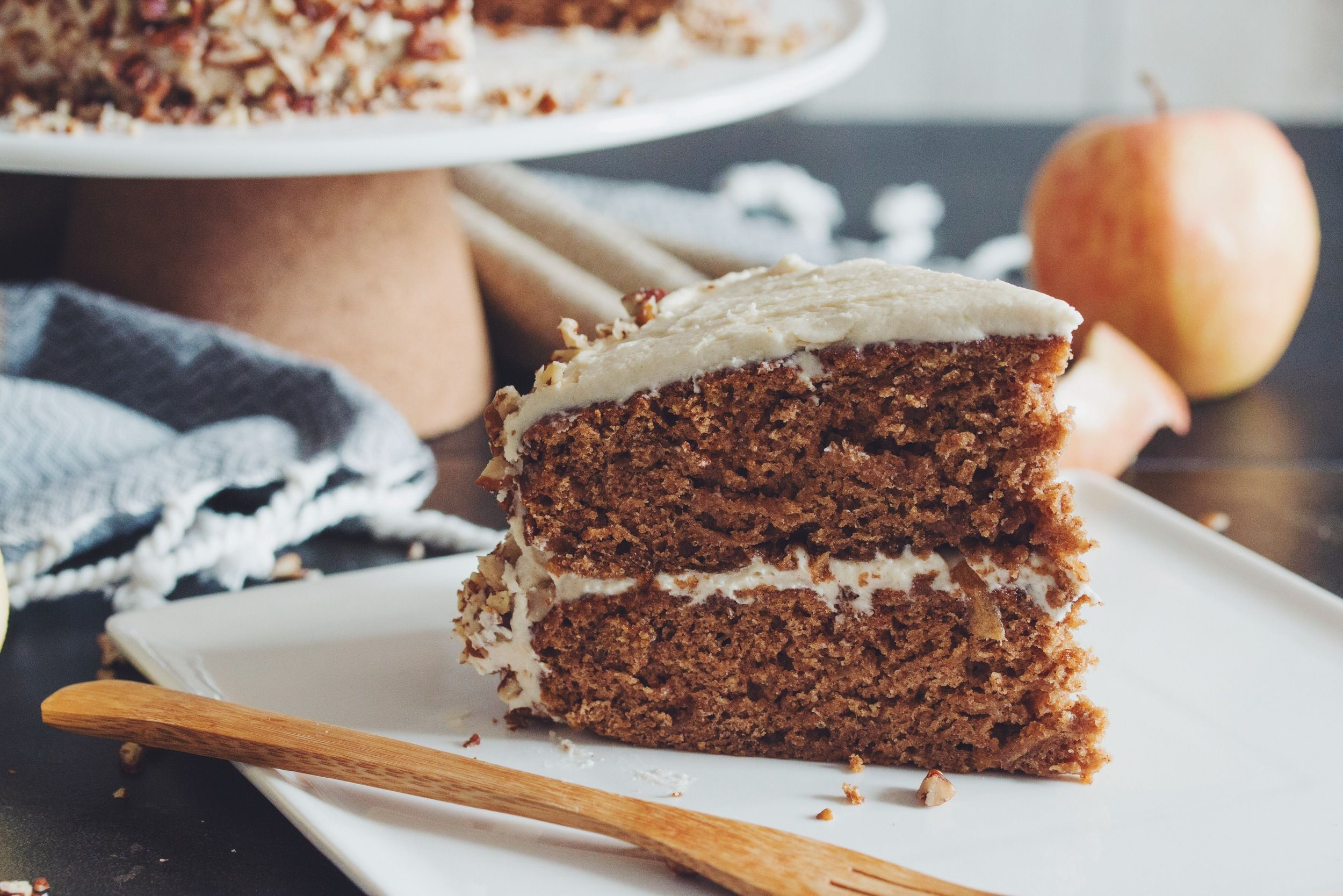 Vegan Apple Spice Cake With Maple Buttercream Hot For Food By Lauren Toyota Recipe Apple Spice Cake Cake Recipes Spice Cake