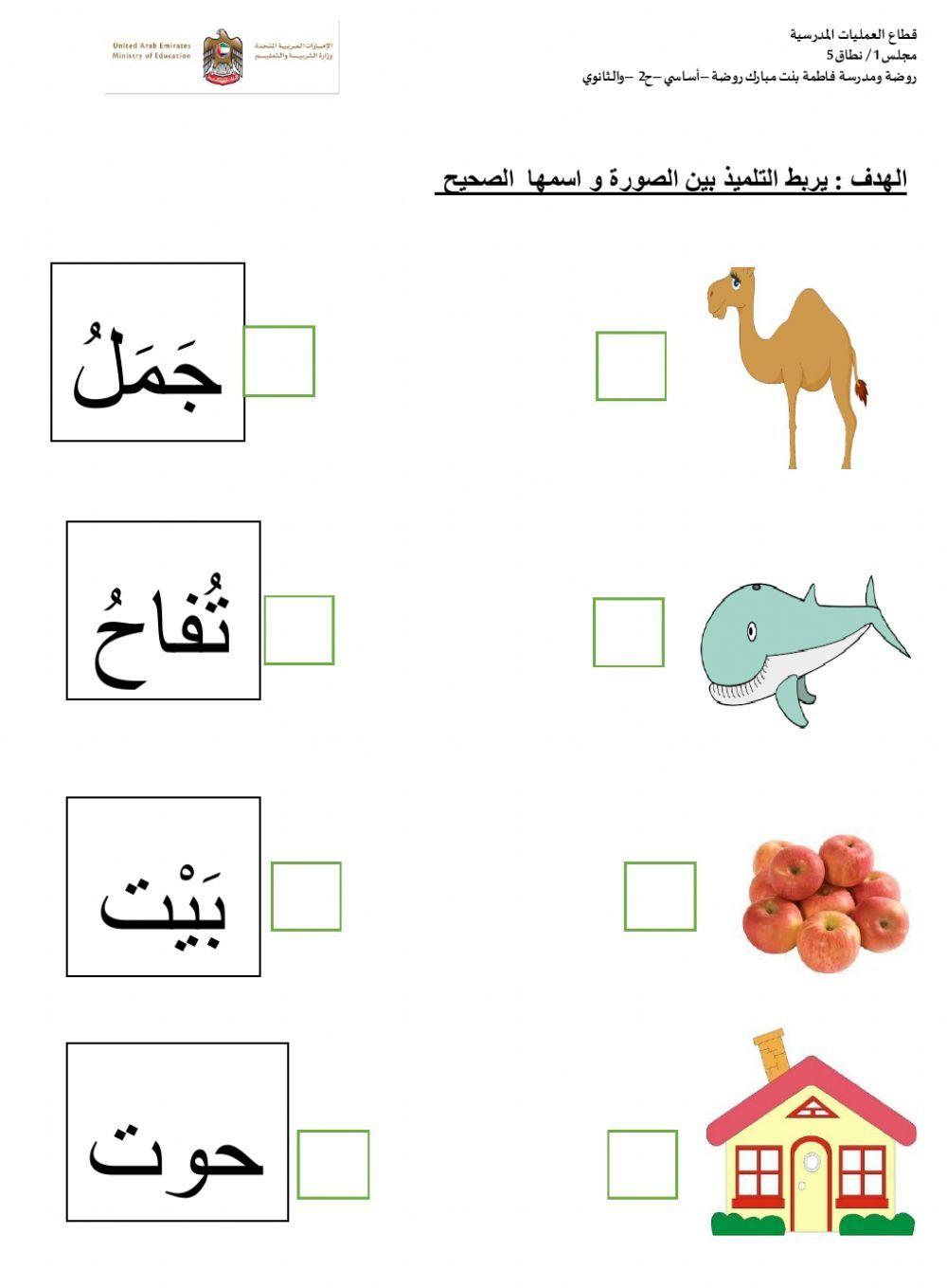 اربط الصورة بالاسم الصحيح worksheet