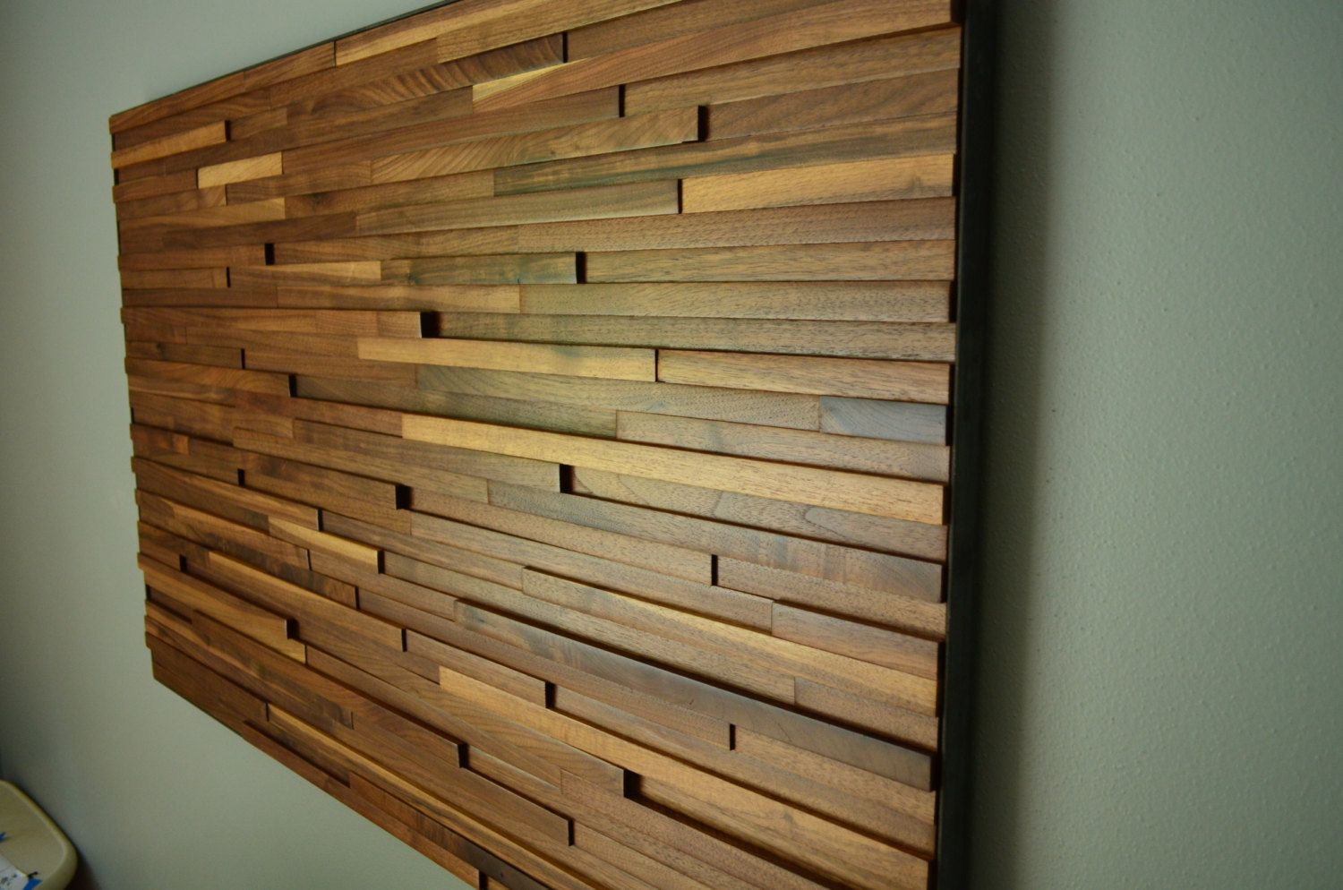 Wood wall art made from reclaimed walnut our little house