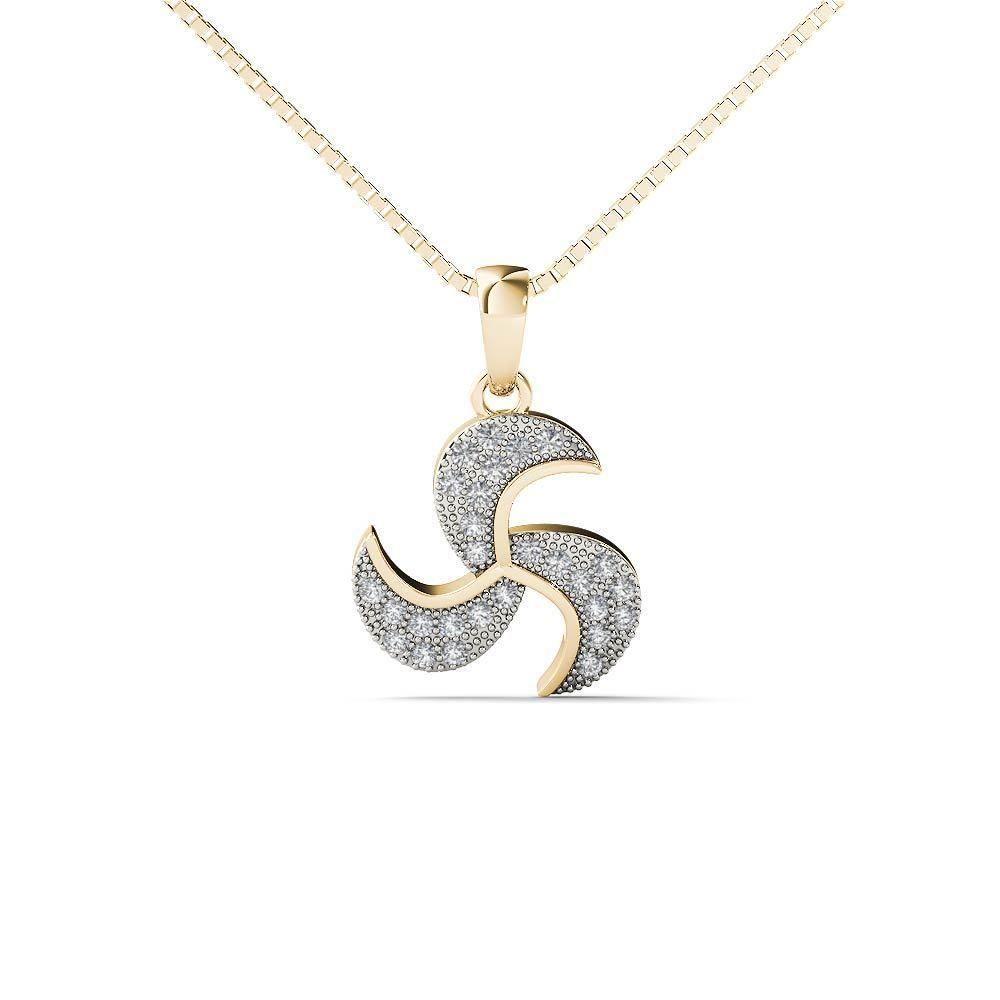 K yellow gold diamond accent turbine blades pendant necklace hi