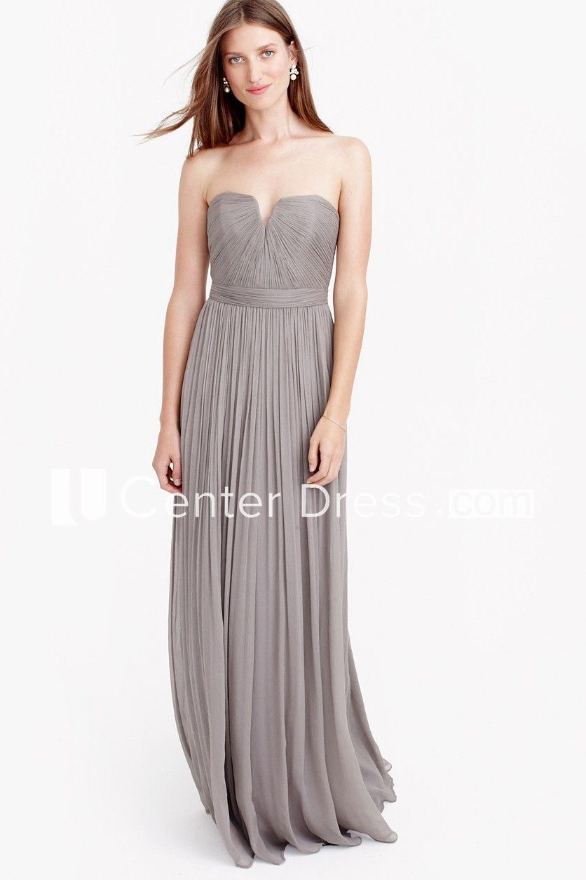 5f33cffbe31 Sheath Sleeveless Ruched Floor-Length Notched Chiffon Bridesmaid Dress With  Pleats
