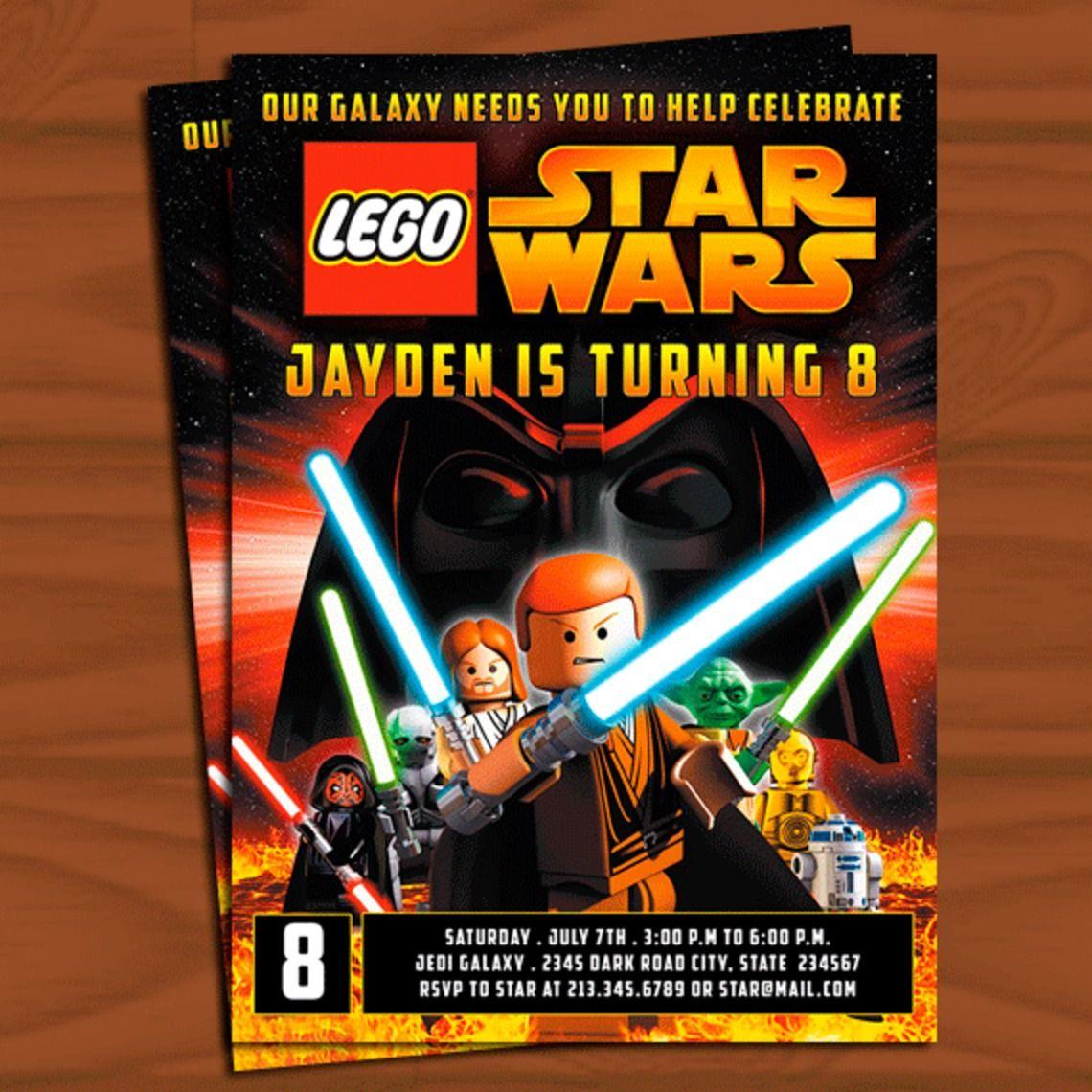 Lego Star Wars 1 - Birthday Invitation - Custom Invitation, $14.99 ...