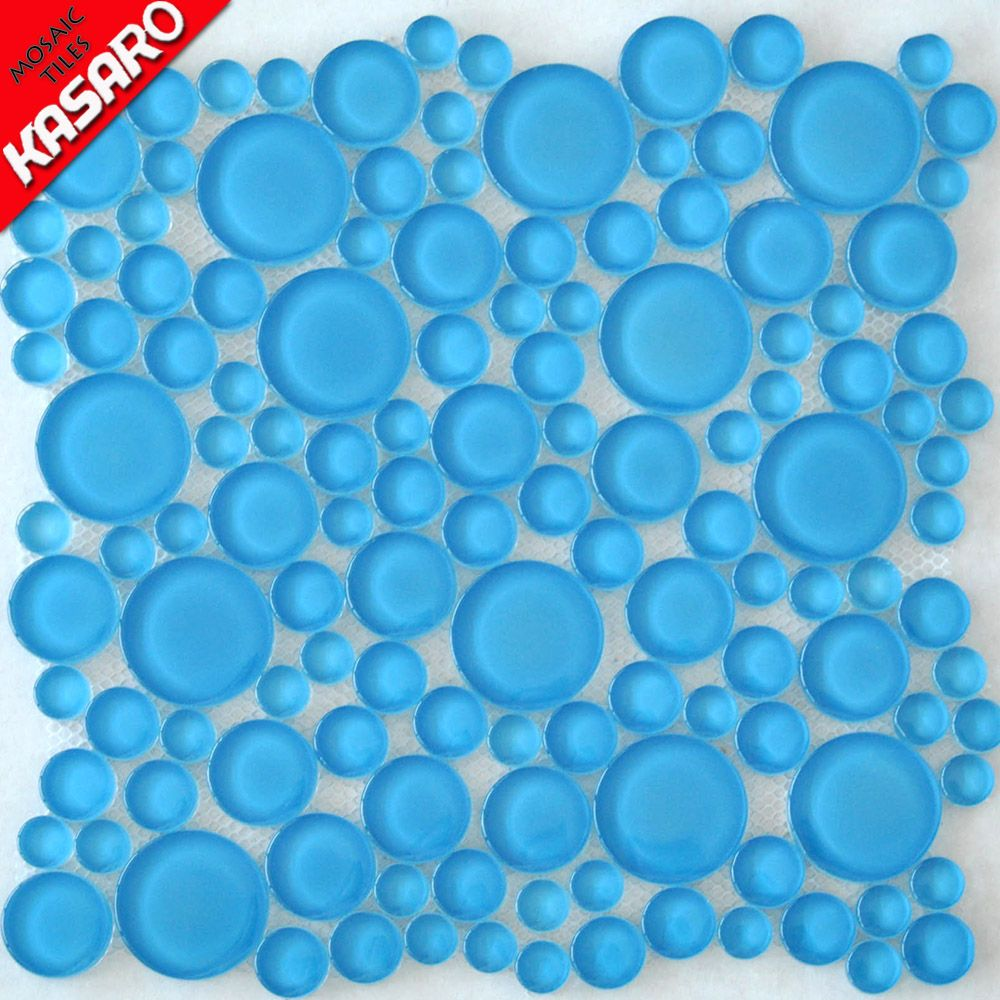 Lake Blue Round Crystal Glass Tiles And Mosaic - Buy Tiles And ...