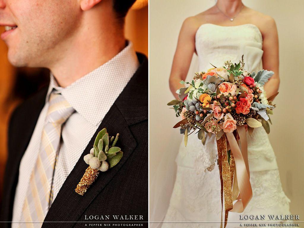 Peach Garden Rose Wedding Glitter Velvet Ribbon Coral Mint Grey