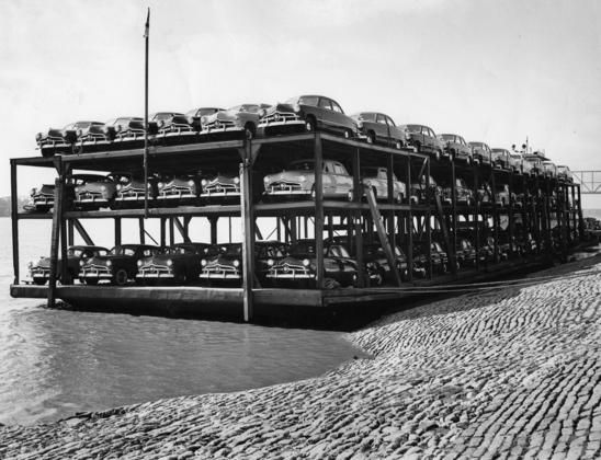 auto barge on missouri on the way from memphis to st louis with 137 new 1949 ford car. Black Bedroom Furniture Sets. Home Design Ideas
