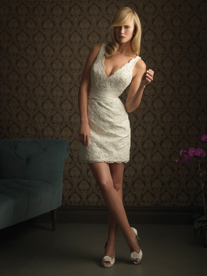 Allure Style 940 A Tail Length Dress Featuring V Shaped Neckline And Mini Wedding Dressesshort