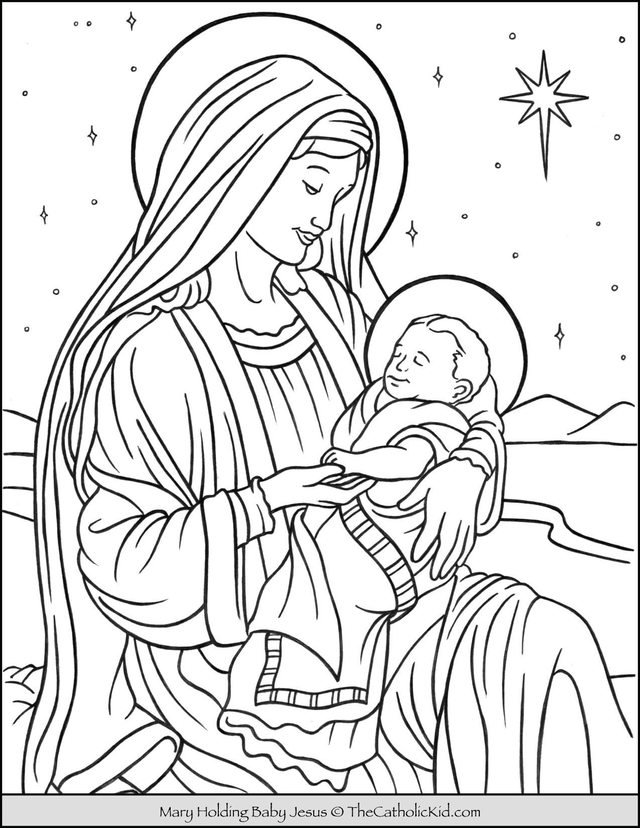 Mary With Baby Jesus In Bethlehem Coloring Page Thecatholickid Com In 2021 Jesus Coloring Pages Coloring Pages Catholic Coloring