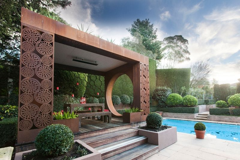 Laser cut metal art pergola by the pool with outdoor for Outdoor pool sculptures