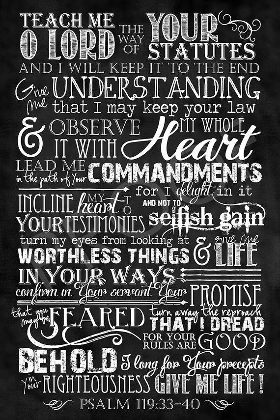 Scripture Art Psalm 11933 40 Chalkboard Style Long Format