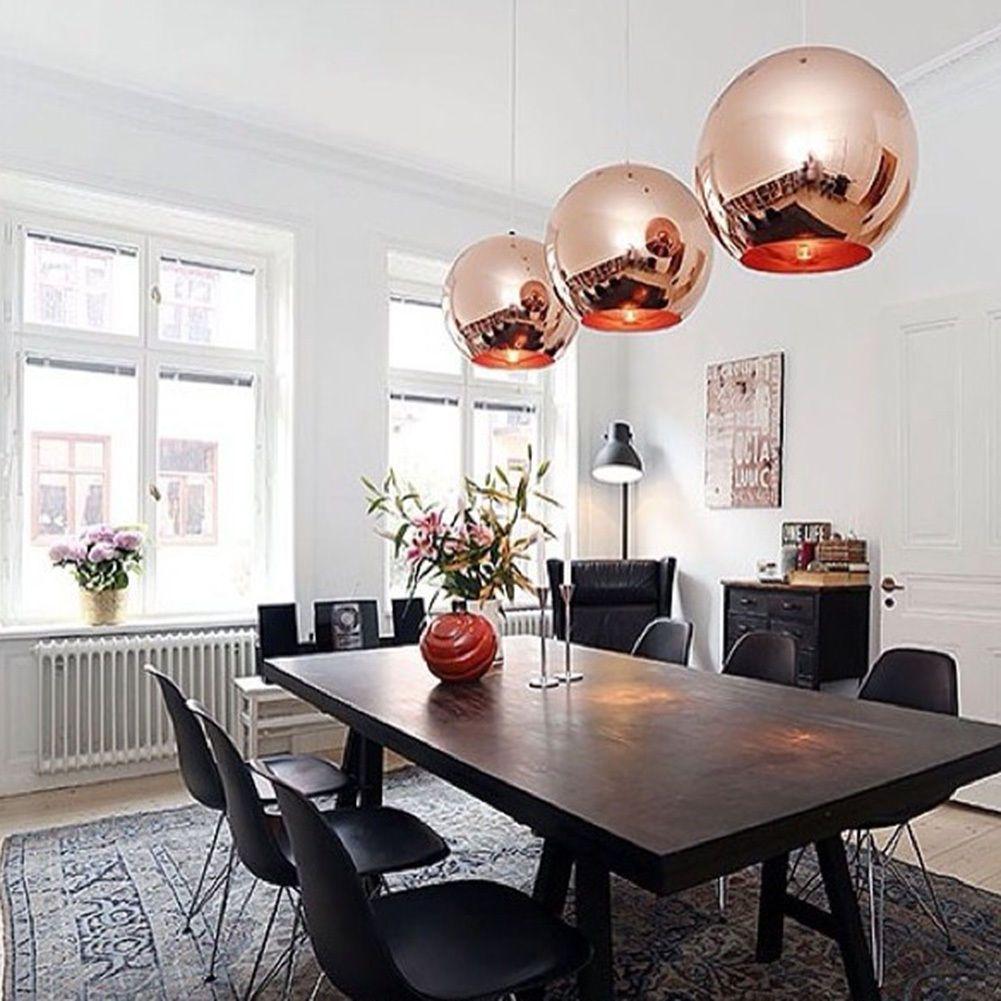 Modern Diy Rose Gold Ceiling Light Glass Ball Pendant Light Lamp