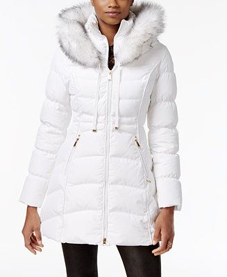 Laundry By Shelli Segal Faux Fur Trim Down Puffer Coat Coats