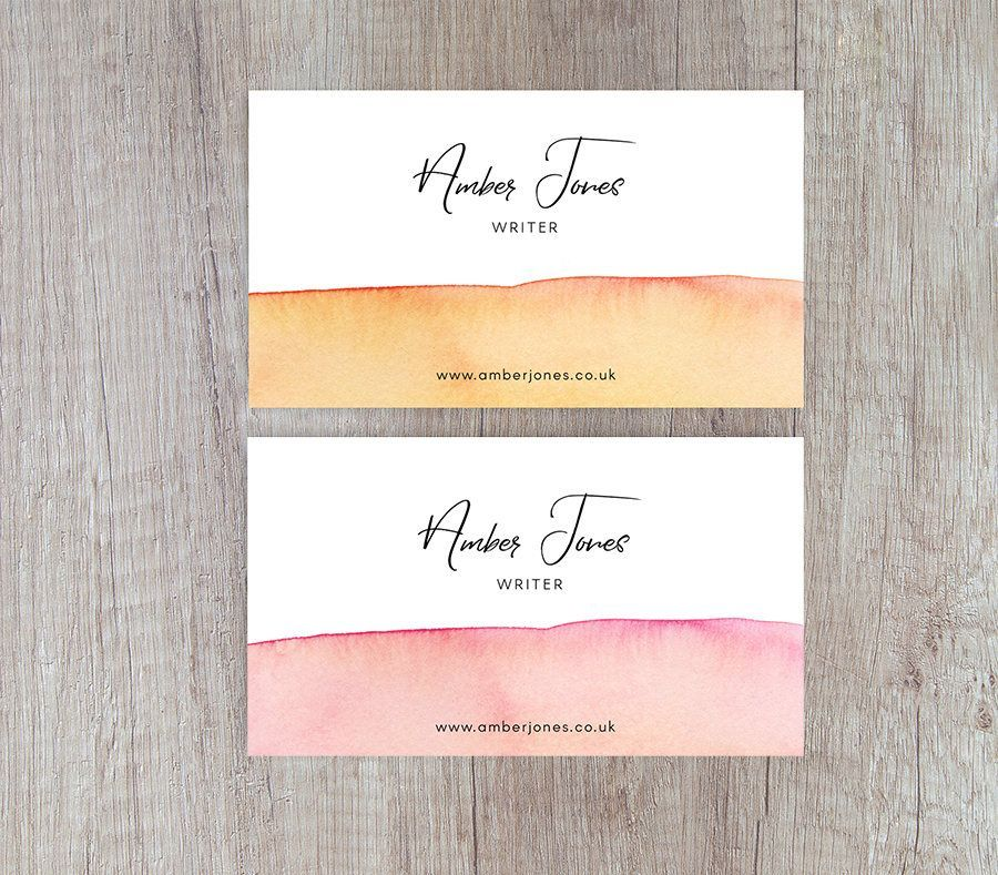 Our watercolour business card in a choice of warm yellow or vibrant ...
