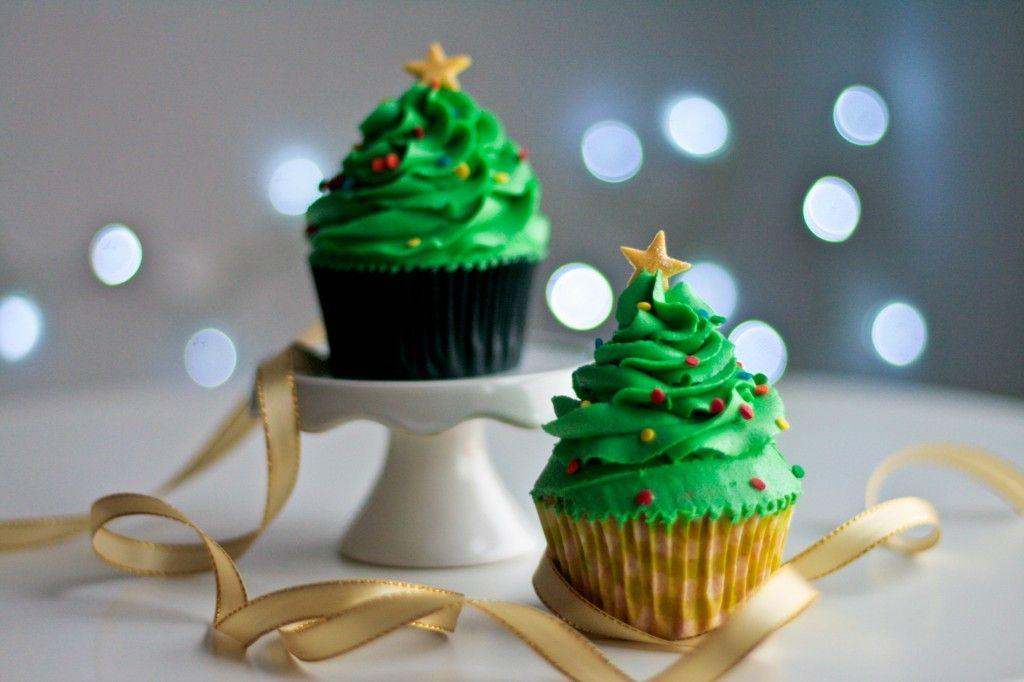 Cupcakes Arbol De Navidad Decorados Con Crema De Mantequilla