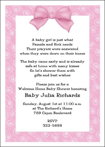 welcome home baby pink bow shower invitation baby shower party invitations pinterest. Black Bedroom Furniture Sets. Home Design Ideas