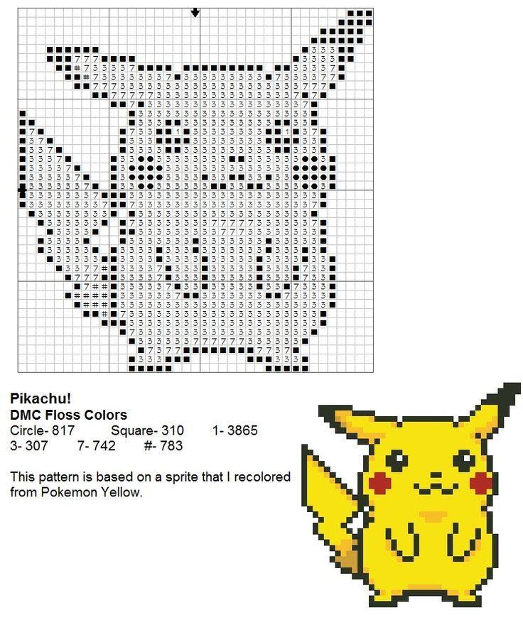 Pikachu cross stitch pattern. Free ($0). | Crochet/Knitting/Cross ...