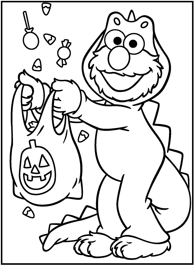 Sesame Street Halloween coloring picture for kids | Halloween ...