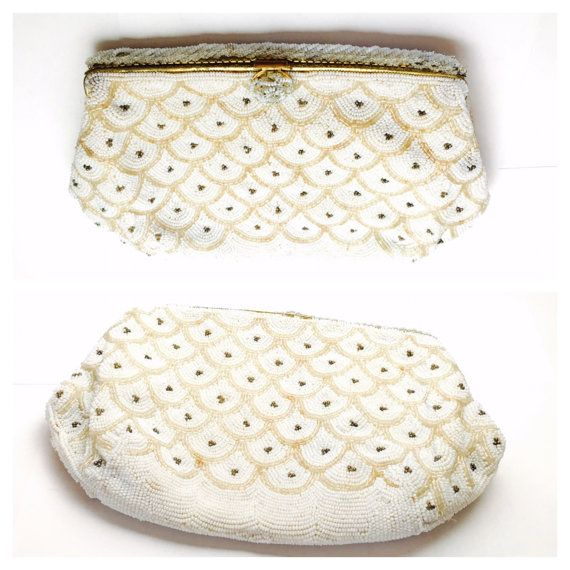 Vintage Beaded Purse Evening Folding Clutch Gold tone by ESTATENOW
