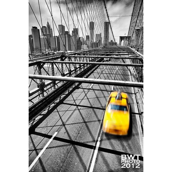 NYC Taxi, Photo Print, New York, City, Cityscape, Brooklyn Bridge,... ($15) ❤ liked on Polyvore featuring backgrounds and building
