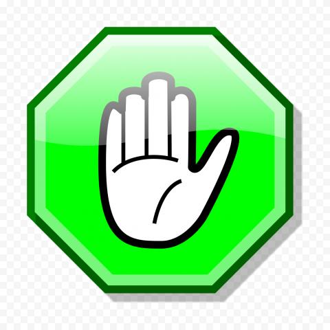 Hd Stop Hand Symbol On Green Road Sign Clipart Png Hand Symbols Clip Art Road Signs