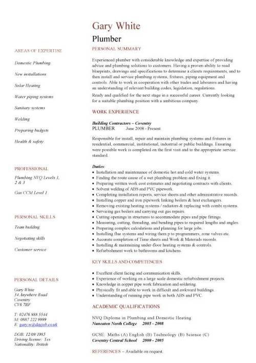 Construction Cv Template Job Description Cv Writing