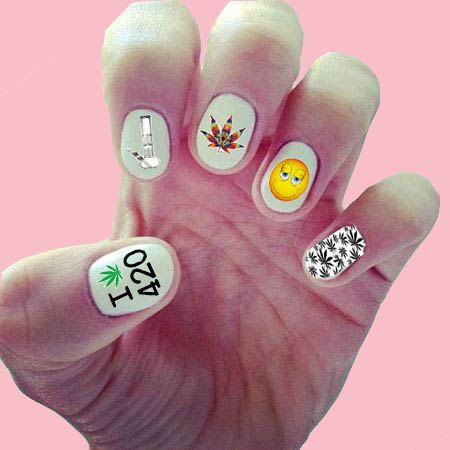 420 Nail Decals Wraps Art Pot Leaf Stoner