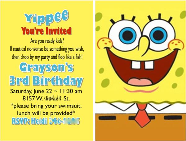 Diy 3d Spongebob Invitations By My Paper Craze Jake S Spongebob