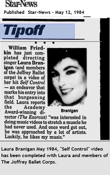 """Laura Branigan 1984, video """"Self Control"""" is finished."""