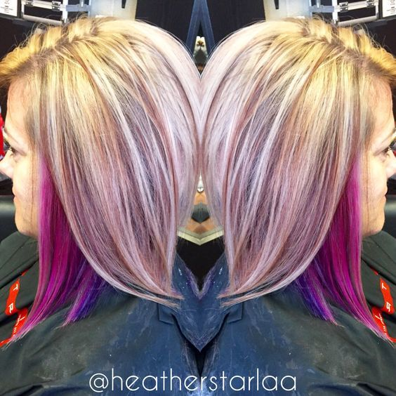 Heavy Blonde Highlight With Pink And Purple Peekaboos Peekaboo Hair Pink Blonde Hair Hair Styles