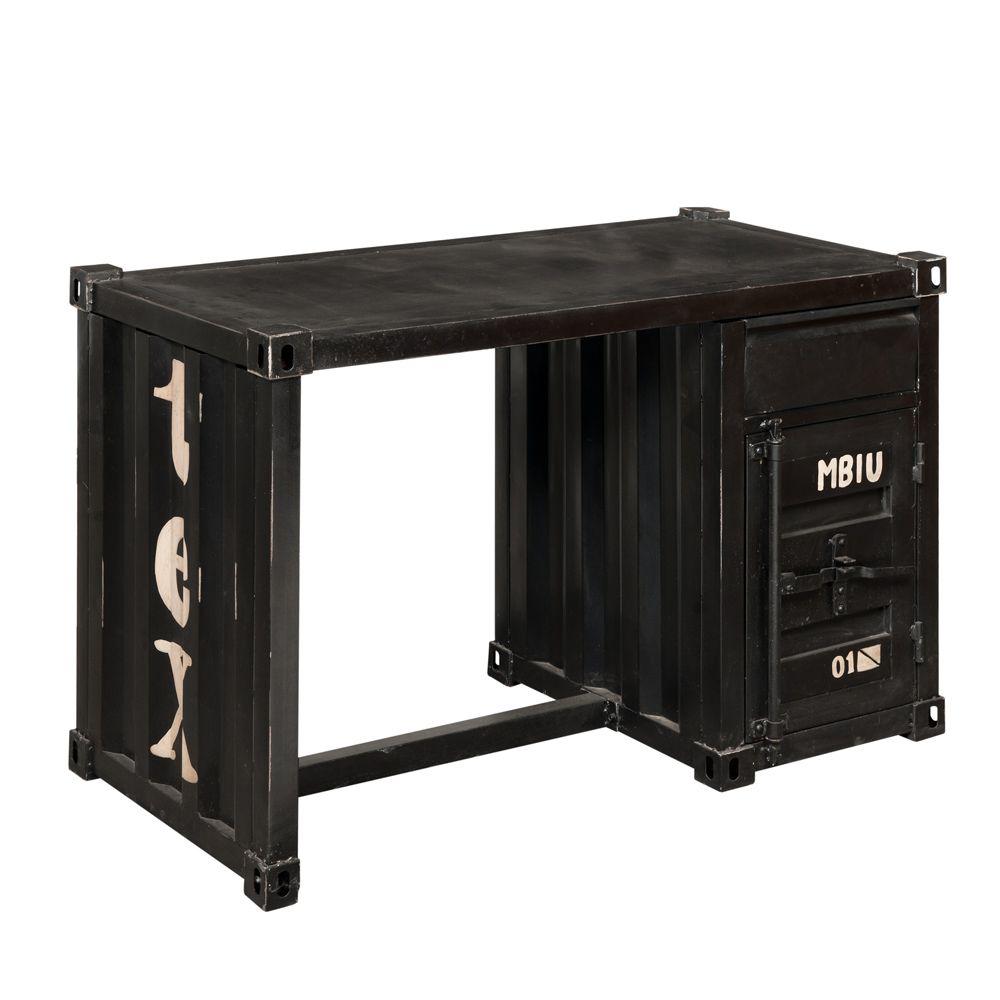 Scrivania nera in metallo a forma di container l 123 cm for Container maison du monde