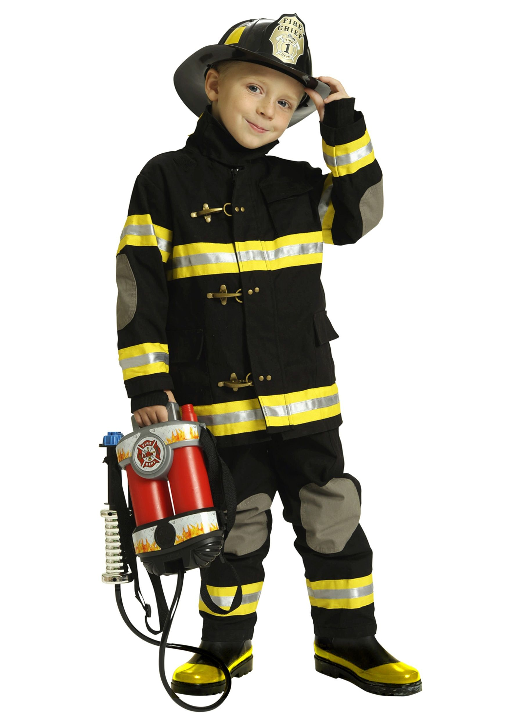 Boys Black Fireman Costume | Fireman costume, Firemen and Toddler ...