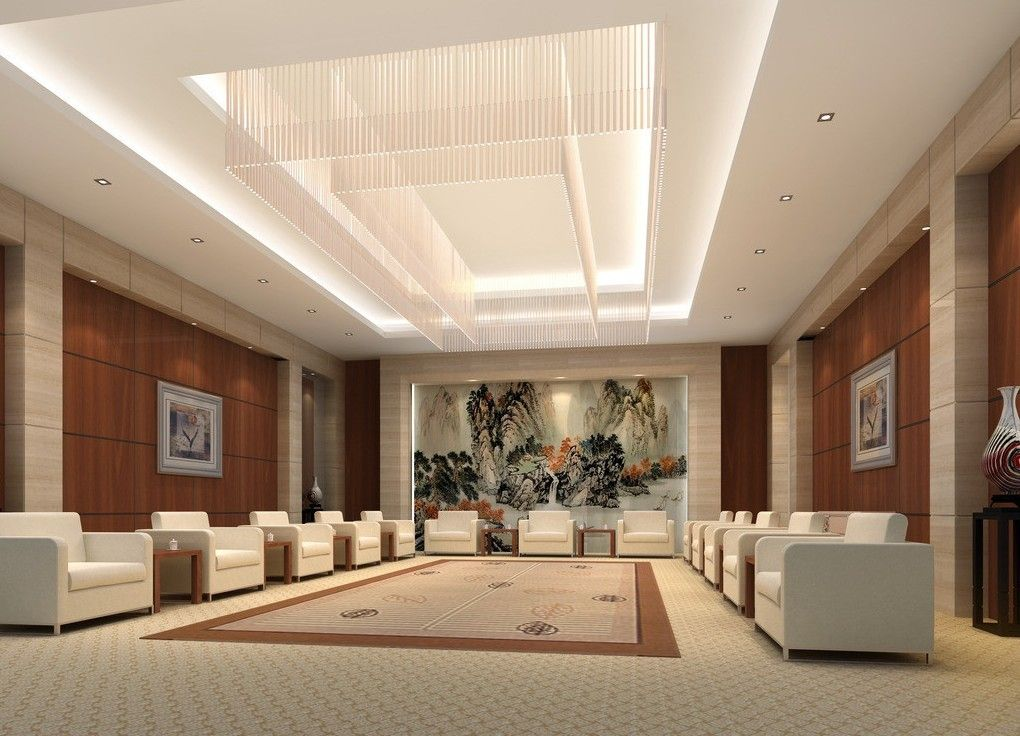 Vip reception room interior design rendering 3d for Hotel ceiling design