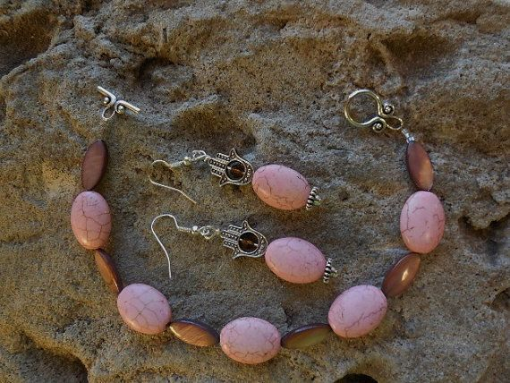 Brown mother pearl and pink howlite turquoise by KANDYLEES on Etsy