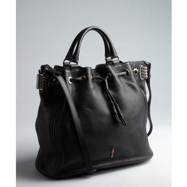 Christian Louboutin Black Leather Drawstring Studded Bag TquRia17k