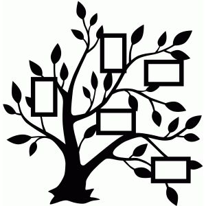 Silhouette Design Store - View Design #76247: 5 frame family tree