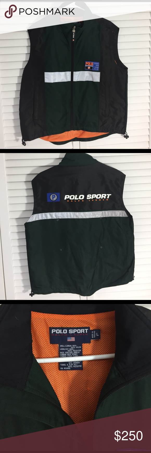Vintage Ralph Lauren Reflective Polo Sport Vest Rare Vintage Reflective Polo Sport Vest ... A cherished piece of wardrobe, saved from my clubbing and rave days... Used condition, very well cared for. Some signs of light use, including a few minimal skuffs on the reflector area (pictured).  Otherwise excellent condition. This vest represents a very special time in EDM history, and if you were a raver in the 90s, you understand! The price is reflective of its rarity, and sentimental value…