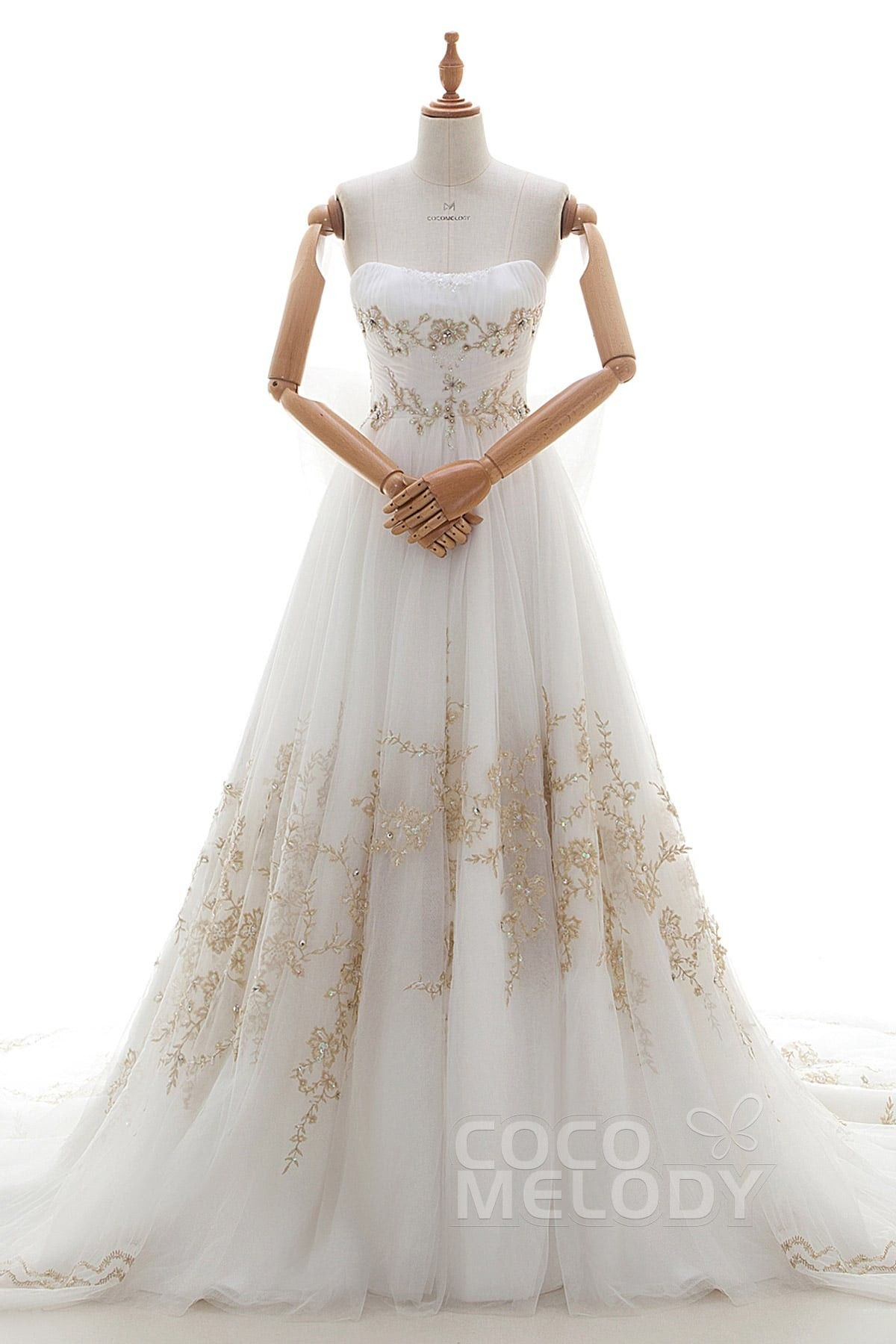 Elegant ALine Strapless Natural Cathedral Train Tulle