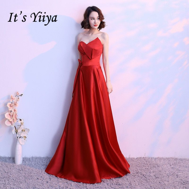 51e885137ddb5 It's YiiYa Red Strapless Sleeveless Backless Simple Lace Up Party ...