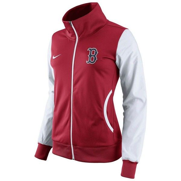 Women s Nike Boston Red Sox Track Jacket ( 68) ❤ liked on Polyvore  featuring activewear 134a36e490