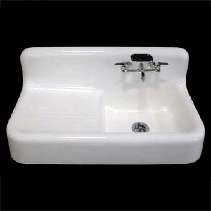"42"" Cast Iron Wall Hung Kitchen Sink (Left Hand Side Drain Board / Right Hand Bowl) - Farmhouse Sinks - Kitchen Sinks - Kitchen"