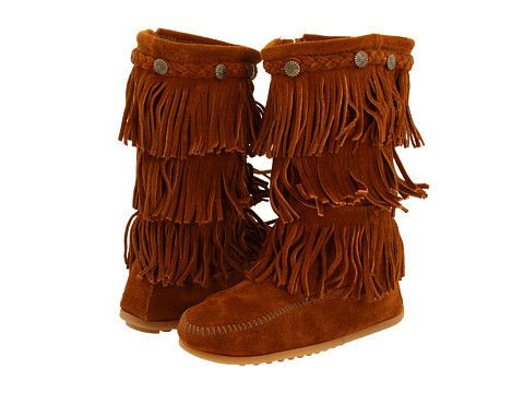 Minnetonka Kids 3 Layer Fringe Boot Toddler Little Kid Youth Brown Pocahontas Would Definitely Wear This Girls Fringe Boots Toddler Fringe Boots Fringe Boots