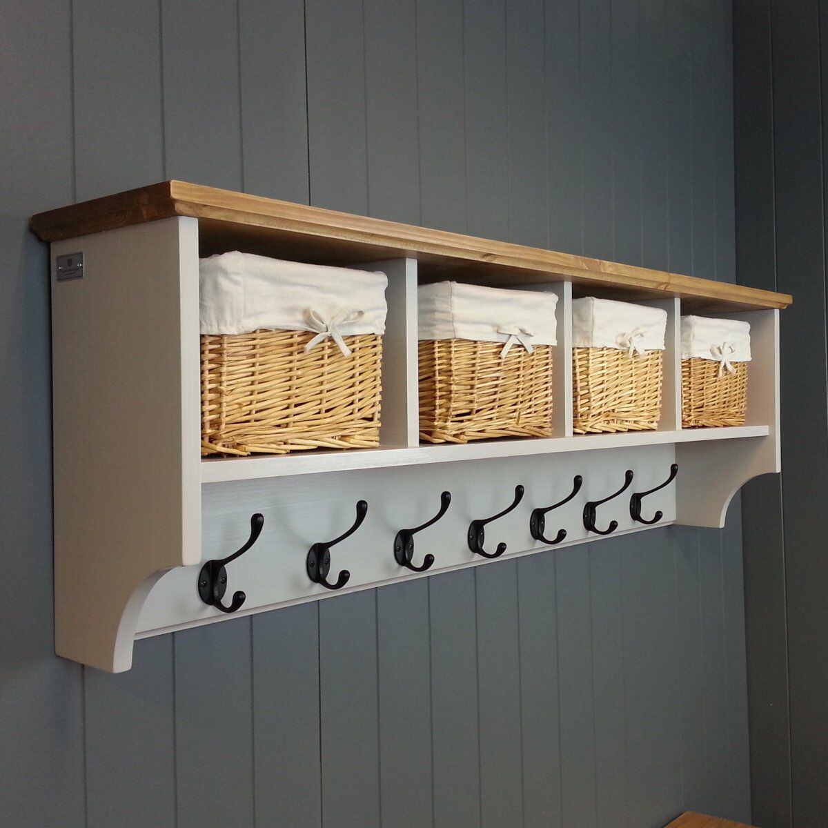 Hat Coat Rack With Shelf Including Storage Baskets Compartments And Cubby Holes Painted Wood Wall Mount With Images Coat Rack Shelf Wall Cubbies Wall Shelf With Baskets