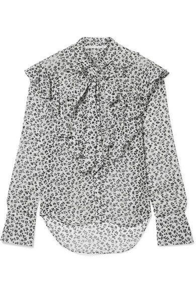 5bcd63e7e119a3 #veronicabeard #cloth #. Veronica Beard - Finley Pussy-bow Floral-print Silk -chiffon Blouse ...