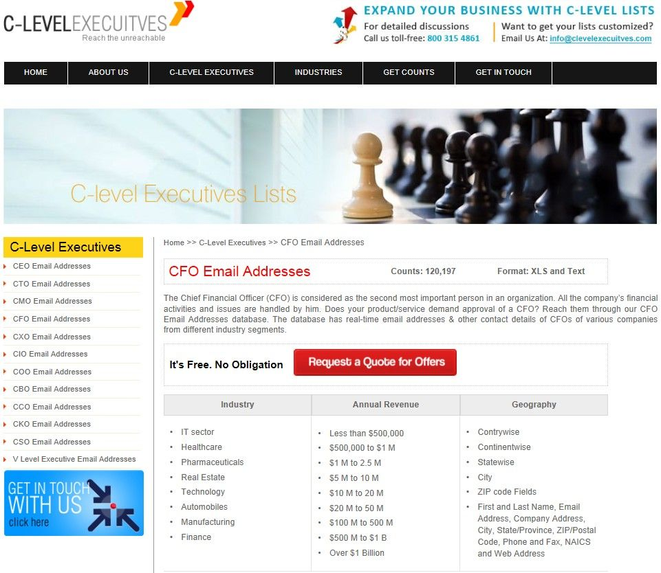 CFO Email List is the most accurate and updated marketing data. http://www.clevelexecuitves.com/cfo-email-addresses.php