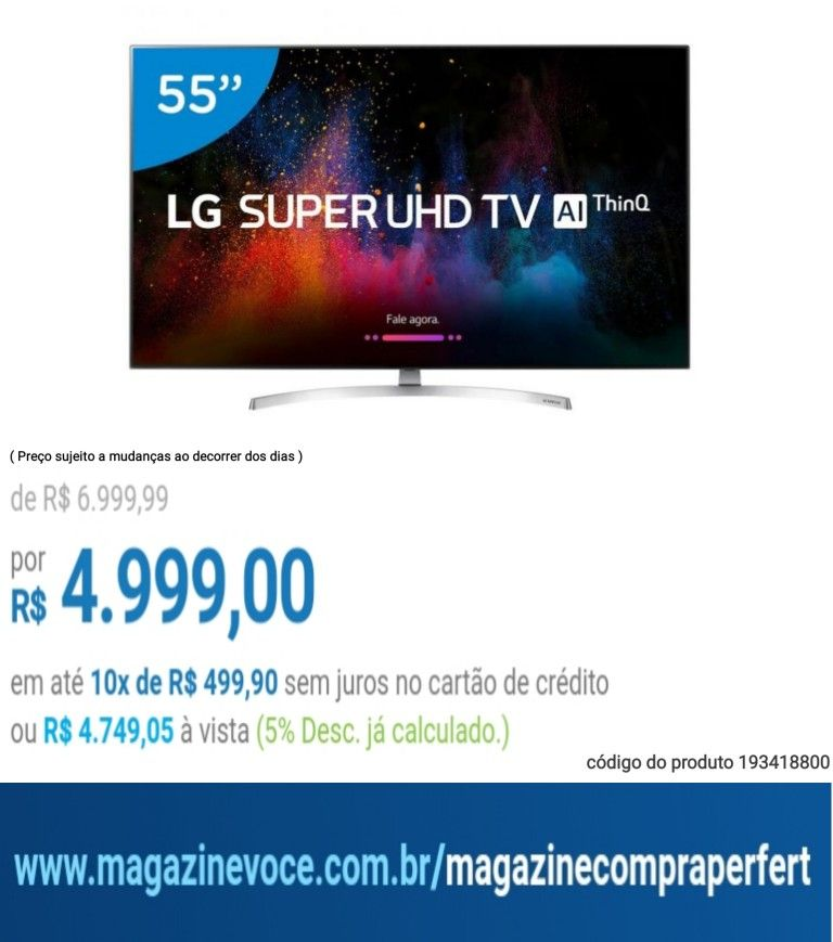 "92c68c31e49fe Smart TV 4K LED 55"" LG 55SK8500PSA Wi-Fi HDR - Inteligência Artificial A"