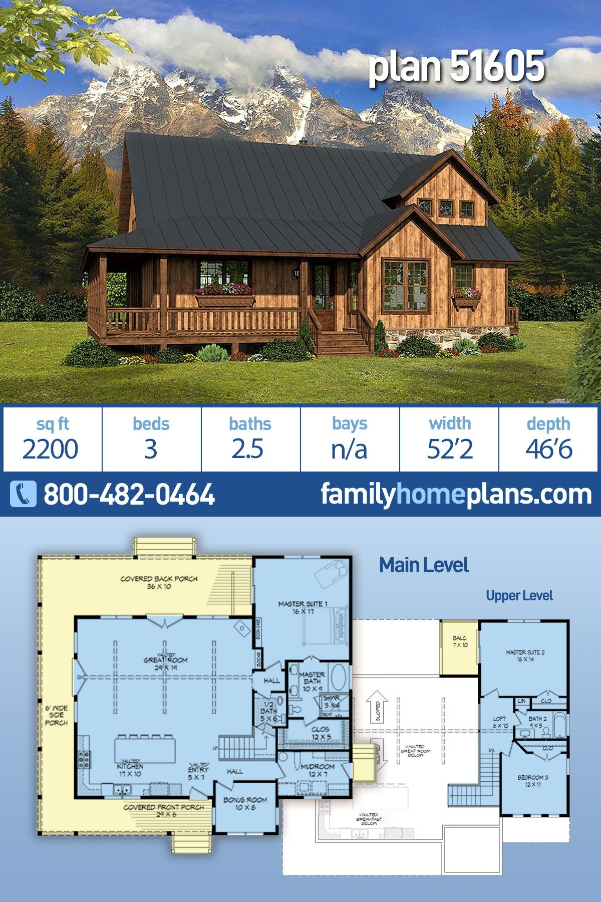 Southern Style House Plan 51605 With 3 Bed 3 Bath Rustic House Plans House Plans Southern Style House Plans